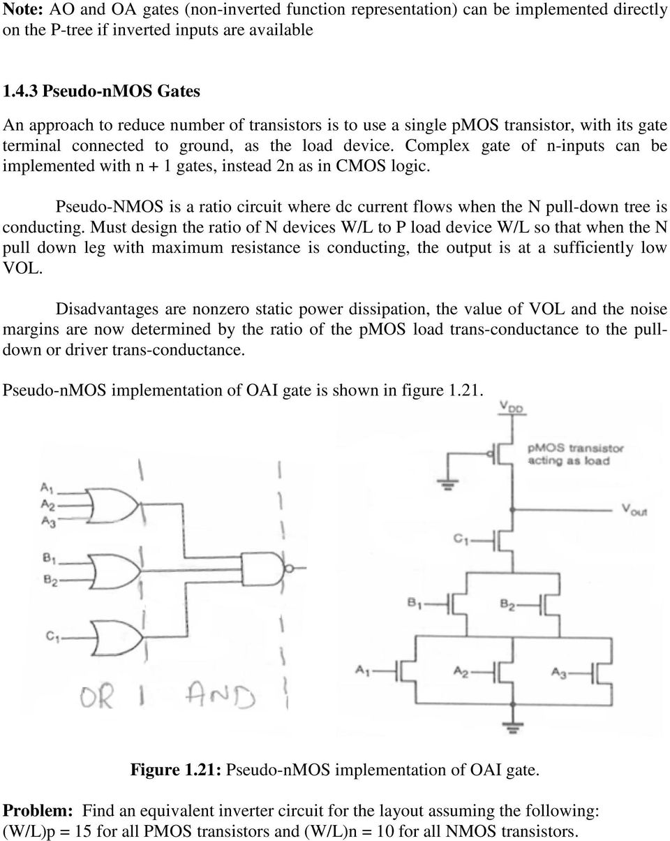 Unit 3 Basics Of Digital Cmos Design 1 Combinational Mos Logic Circuit To Use Nmosfet Instead Pmosfet Electrical Engineering Complex Gate N Inputs Can Be Implemented With Gates