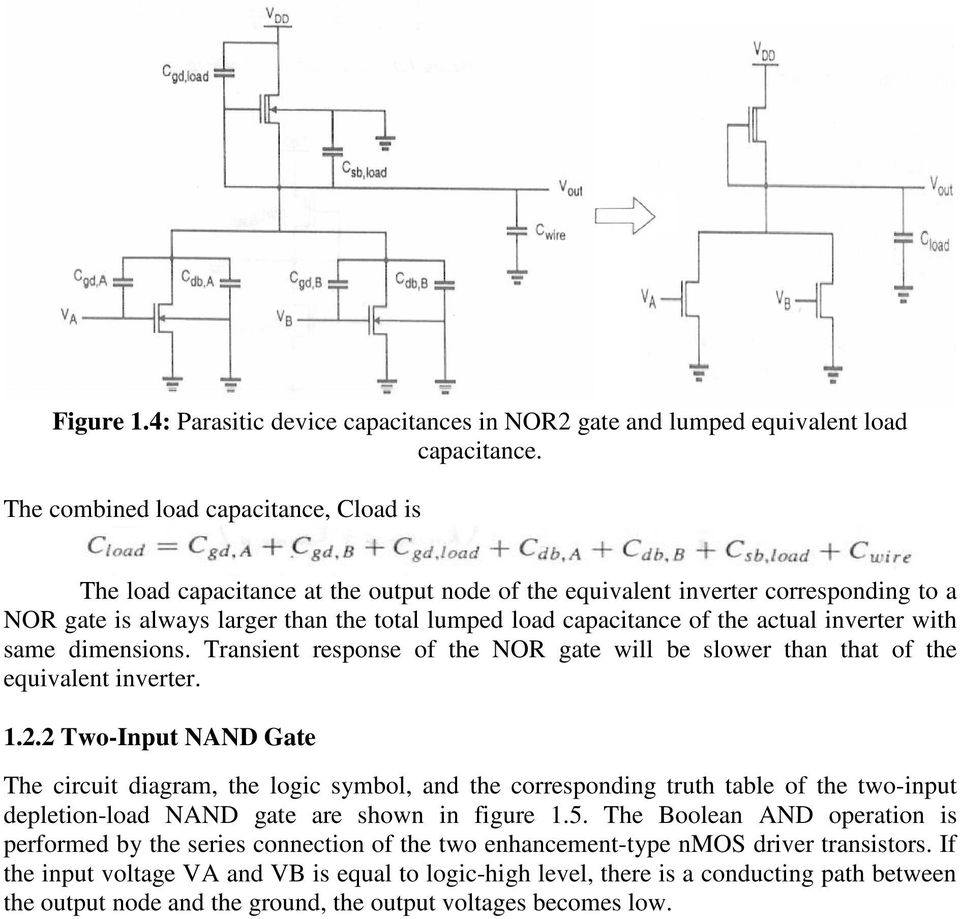 Unit 3 Basics Of Digital Cmos Design 1 Combinational Mos Logic Circuit Diagram Using Gates Actual Inverter With Same Dimensions Transient Response The Nor Gate Will Be Slower Than