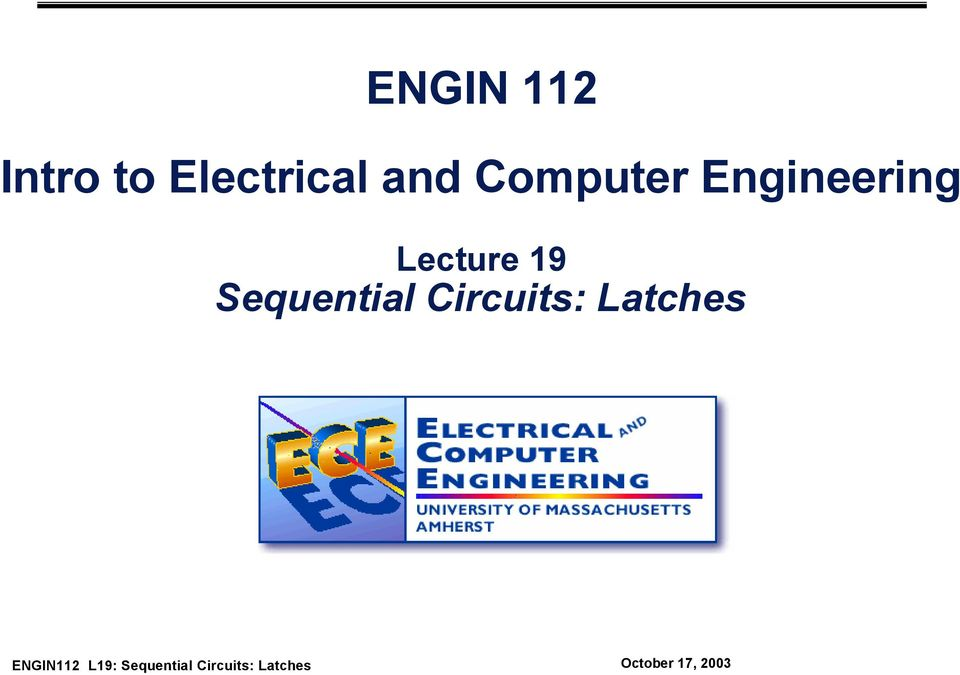 Engineering Lecture 19