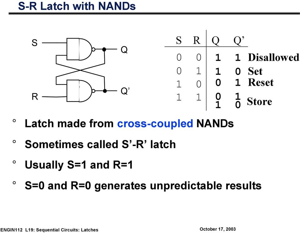-R latch Usually S=1 and R=1 1 1 Disallowed 1 0 Set 0 1