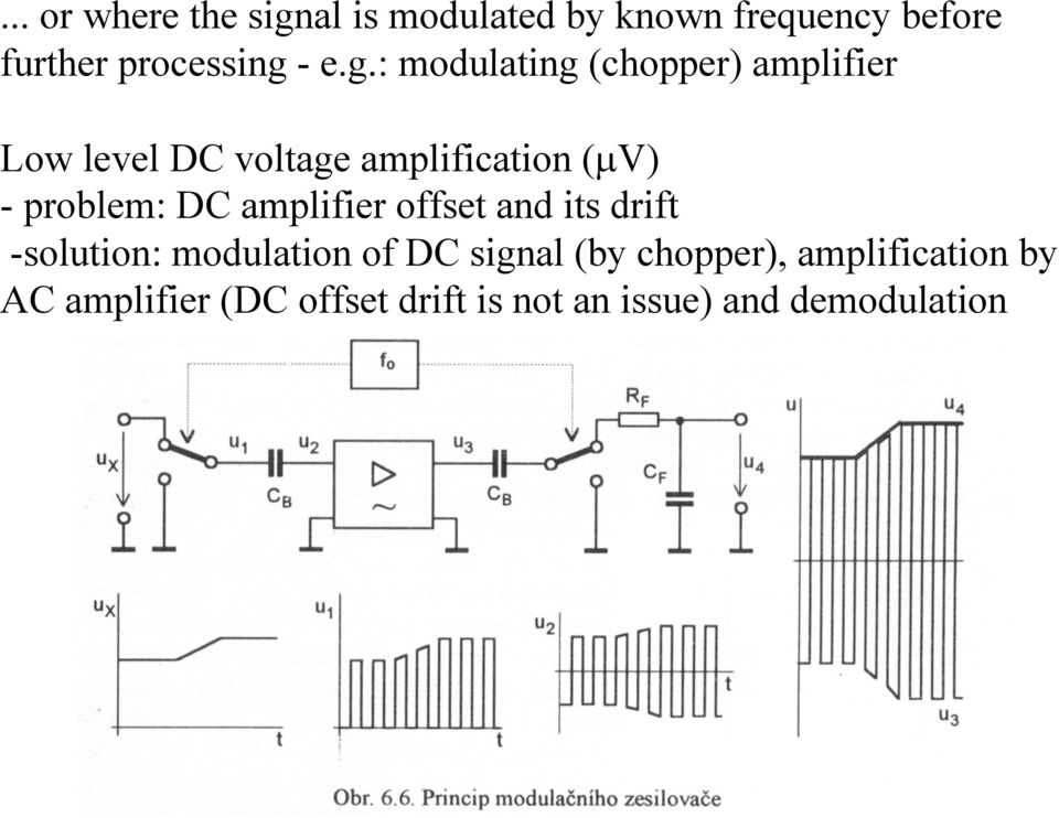 problem: DC amplifier offset and its drift -solution: modulation of DC signal (by