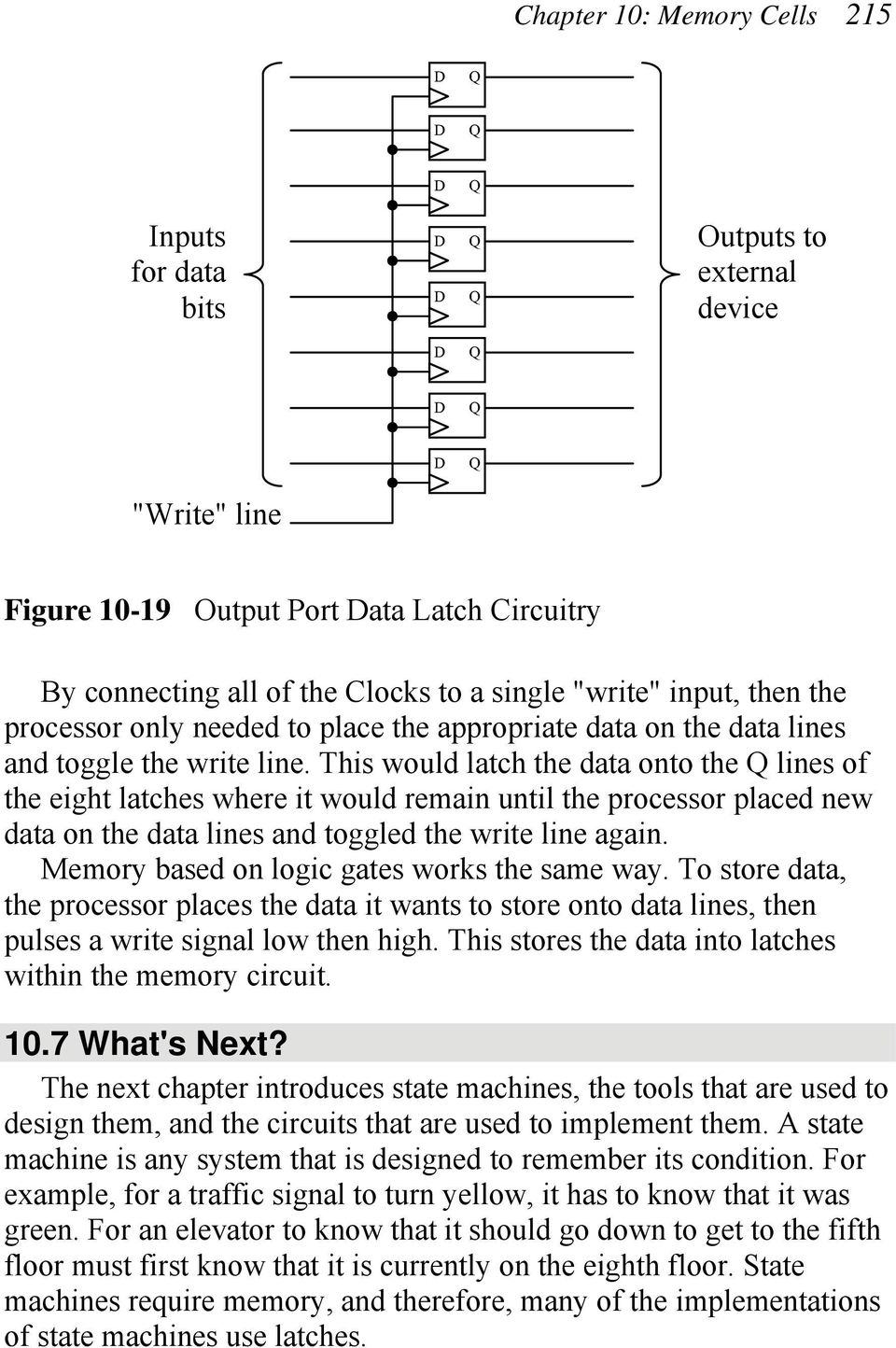 This would latch the data onto the lines of the eight latches where it would remain until the processor placed new data on the data lines and toggled the write line again.