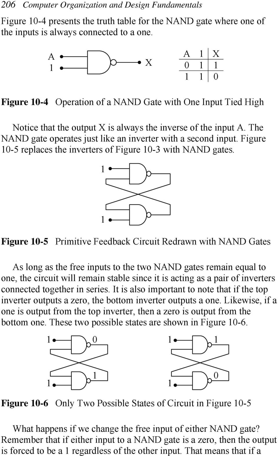Figure -5 replaces the inverters of Figure -3 with NAN gates.