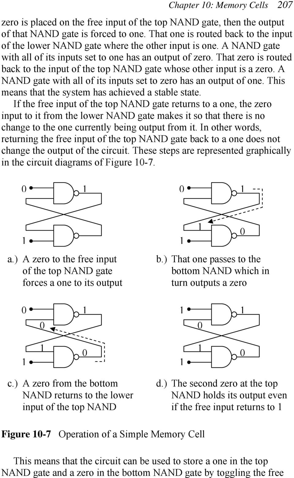 That zero is routed back to the input of the top NAN gate whose other input is a zero. A NAN gate with all of its inputs set to zero has an output of one.