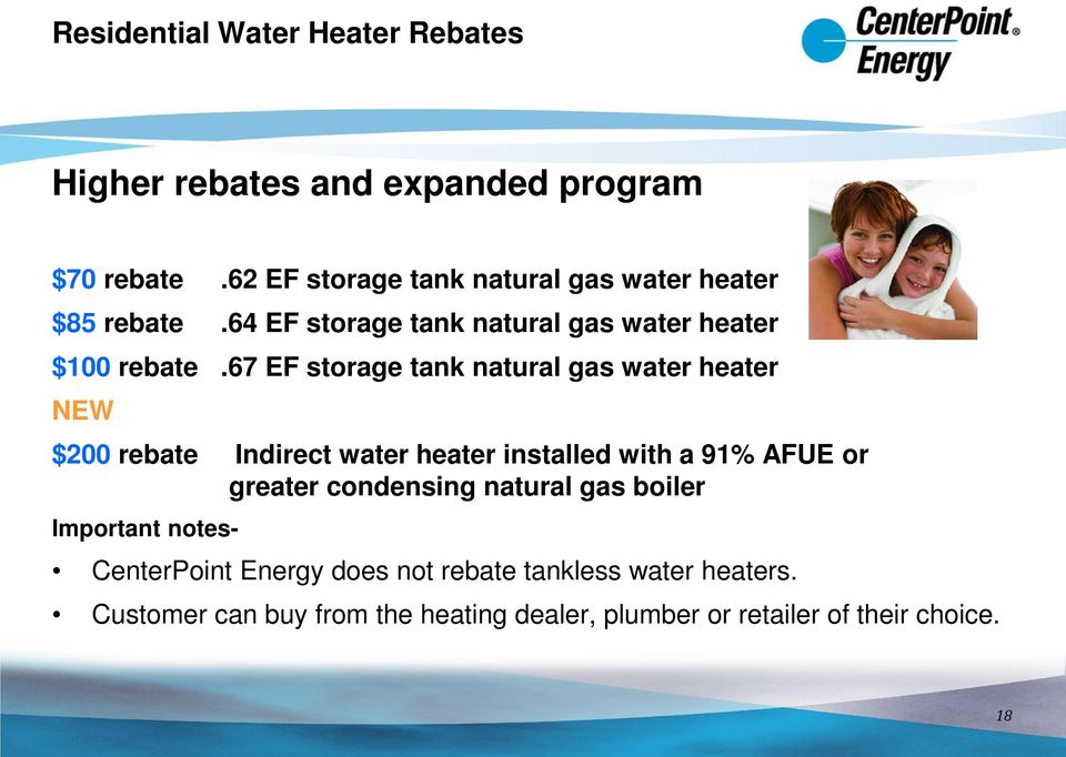 67 EF storage tank natural gas water heater NEW $200 rebate Indirect water heater installed with a 91% AFUE or greater