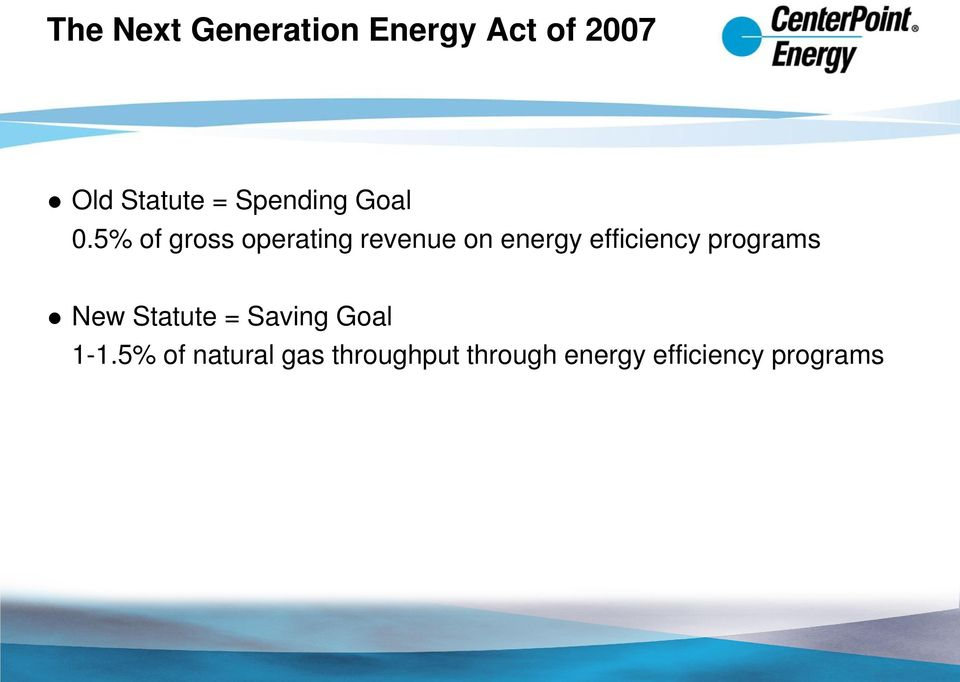 5% of gross operating revenue on energy efficiency