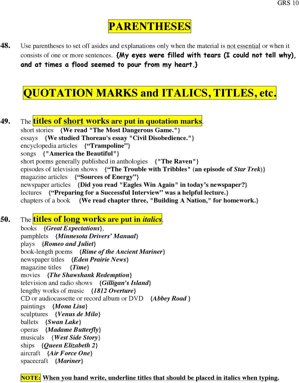 parenthetical documentation quotations pdq item pdf the titles of short works are put in quotation marks short stories we read