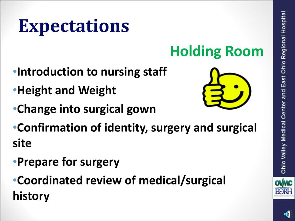 Confirmation of identity, surgery and surgical site