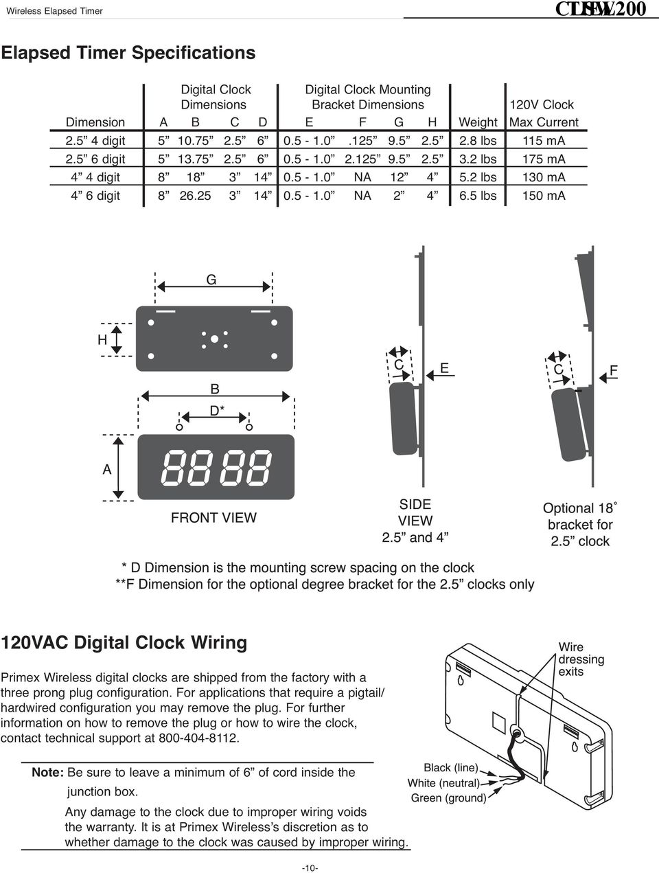 5-1.0 NA 2 4 6.5 lbs 150 ma 120VAC Digital Clock Wiring Primex Wireless digital clocks are shipped from the factory with a three prong plug configuration.
