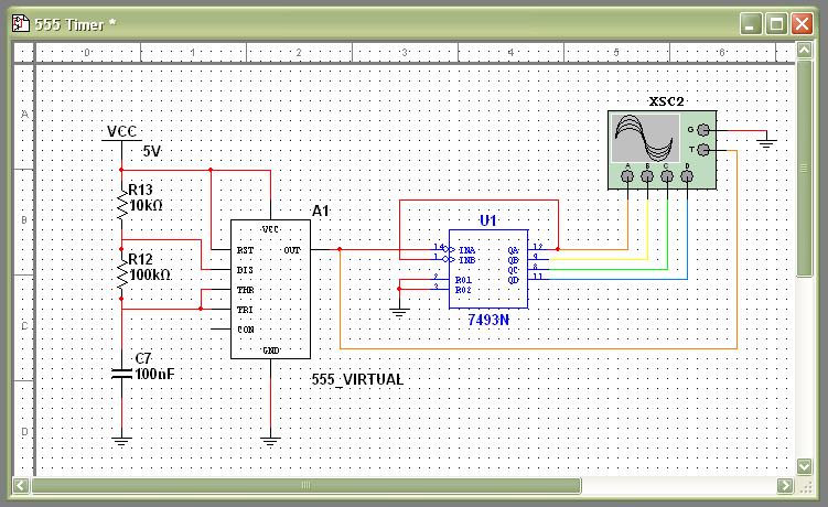 1. Launch Multisim and open 555 Timer Binary Counter from the NI ELVIS II program library. In this program, is simulated the same circuit elements used in Exercise 5.