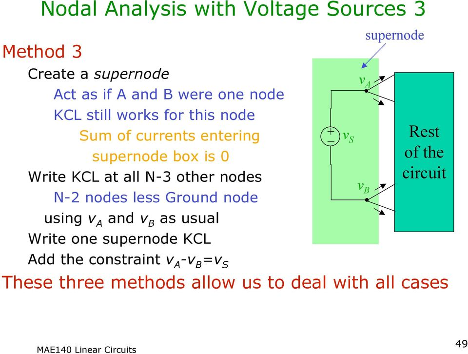 nodes less Ground node usng and B as usual Wrte one supernode KCL _ S B supernode Rest of the
