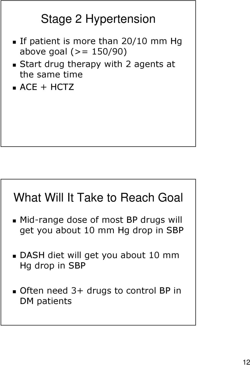Mid-range dose of most BP drugs will get you about 10 mm Hg drop in SBP DASH diet will