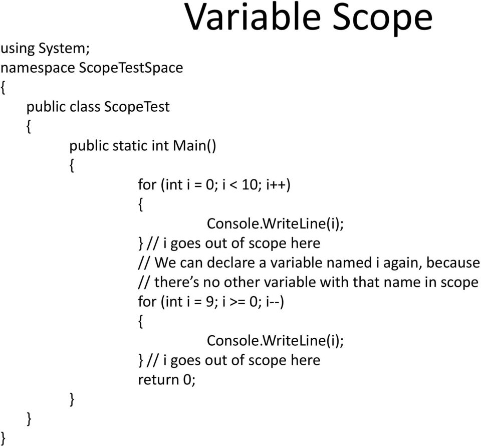 WriteLine(i); // i goes out of scope here // We can declare a variable named iagain, because