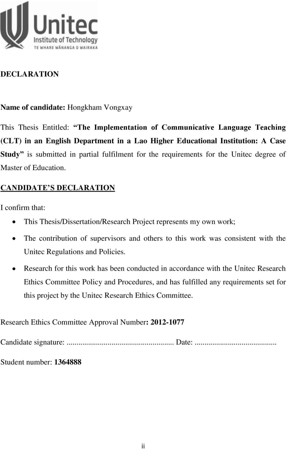 candidate declaration for thesis