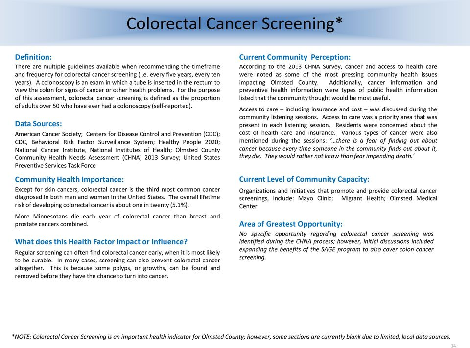 For the purpose of this assessment, colorectal cancer screening is defined as the proportion of adults over 50 who have ever had a colonoscopy (self-reported).