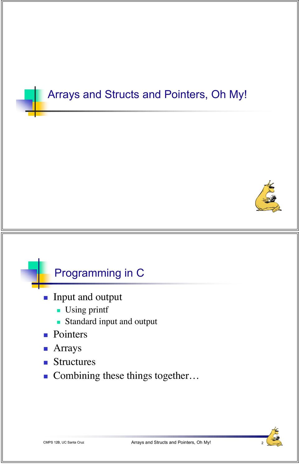 Standard input and output Pointers Arrays Structures
