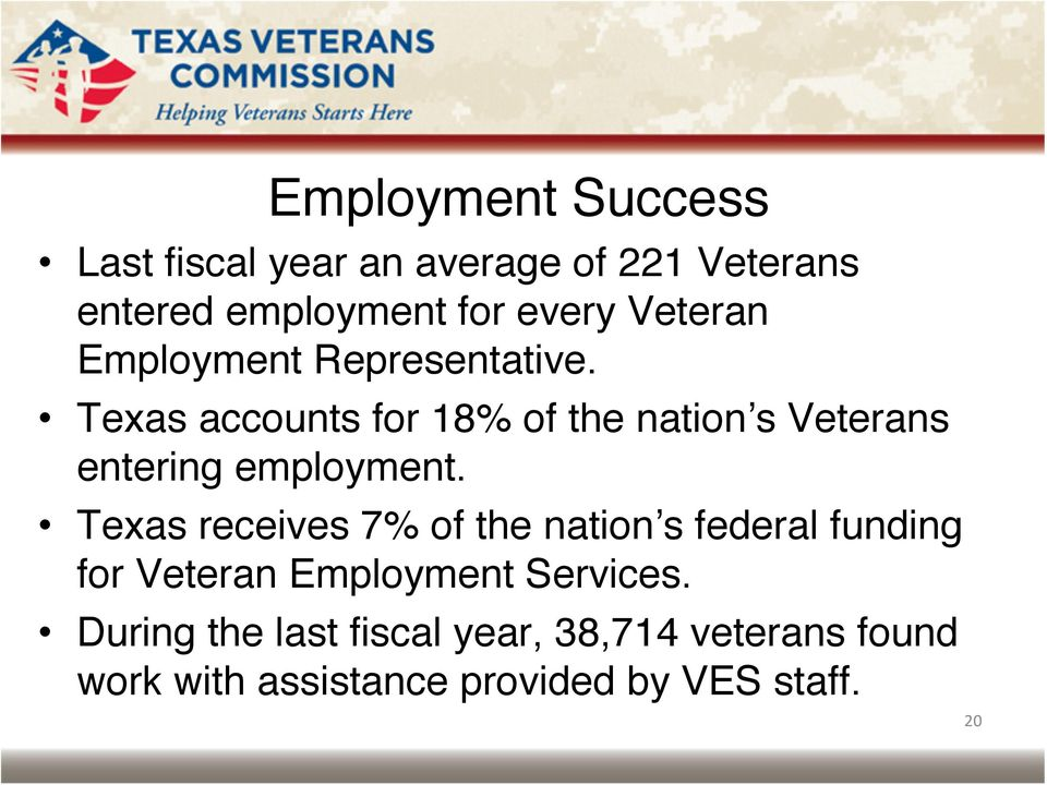 Texas accounts for 18% of the nation s Veterans entering employment.