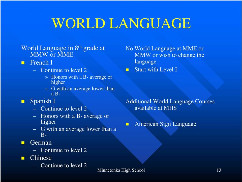 than a B- German Continue to level 2 Chinese Continue to level 2 No World Language at MME or MMW or wish to change the