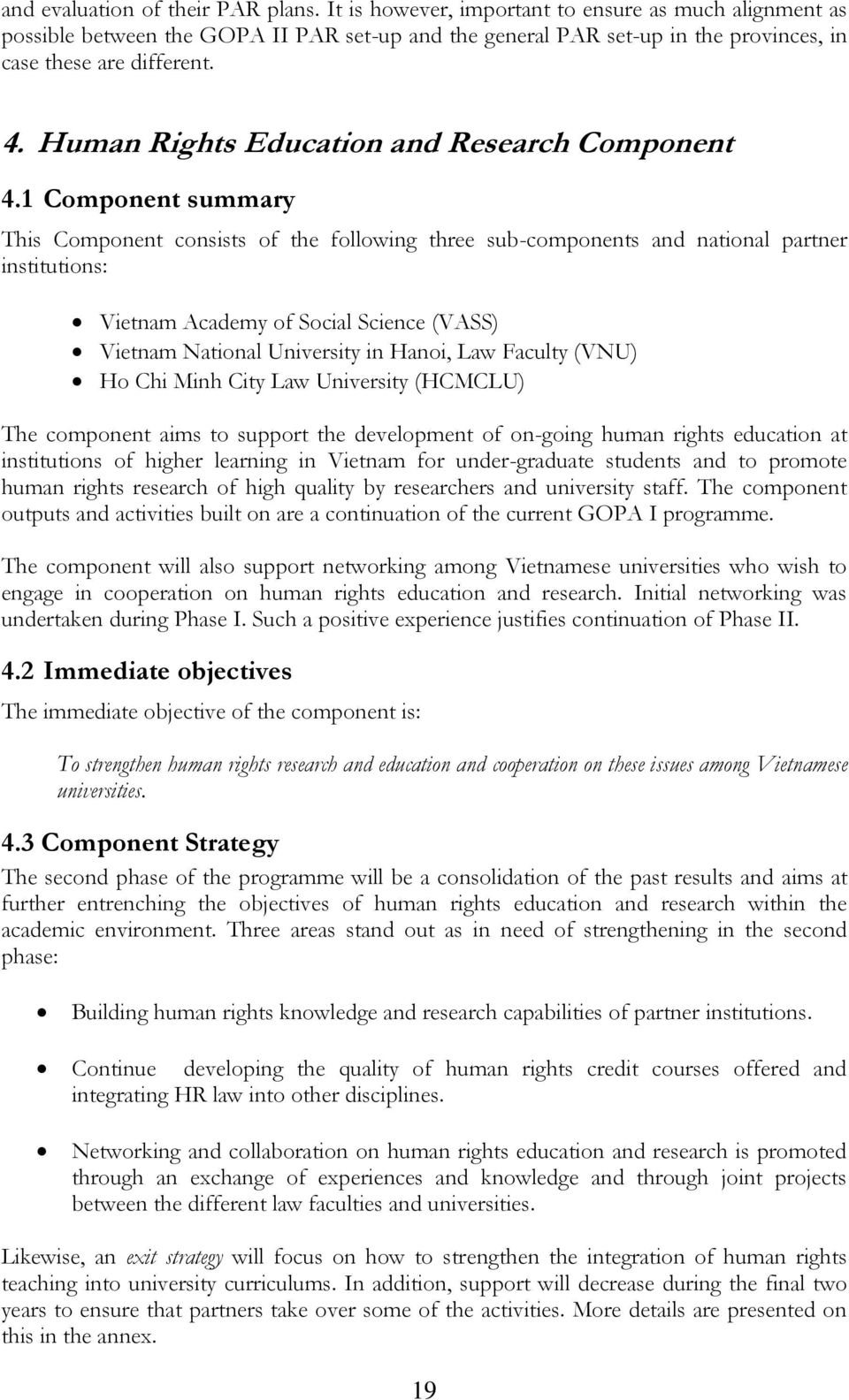 Human Rights Education and Research Component 4.