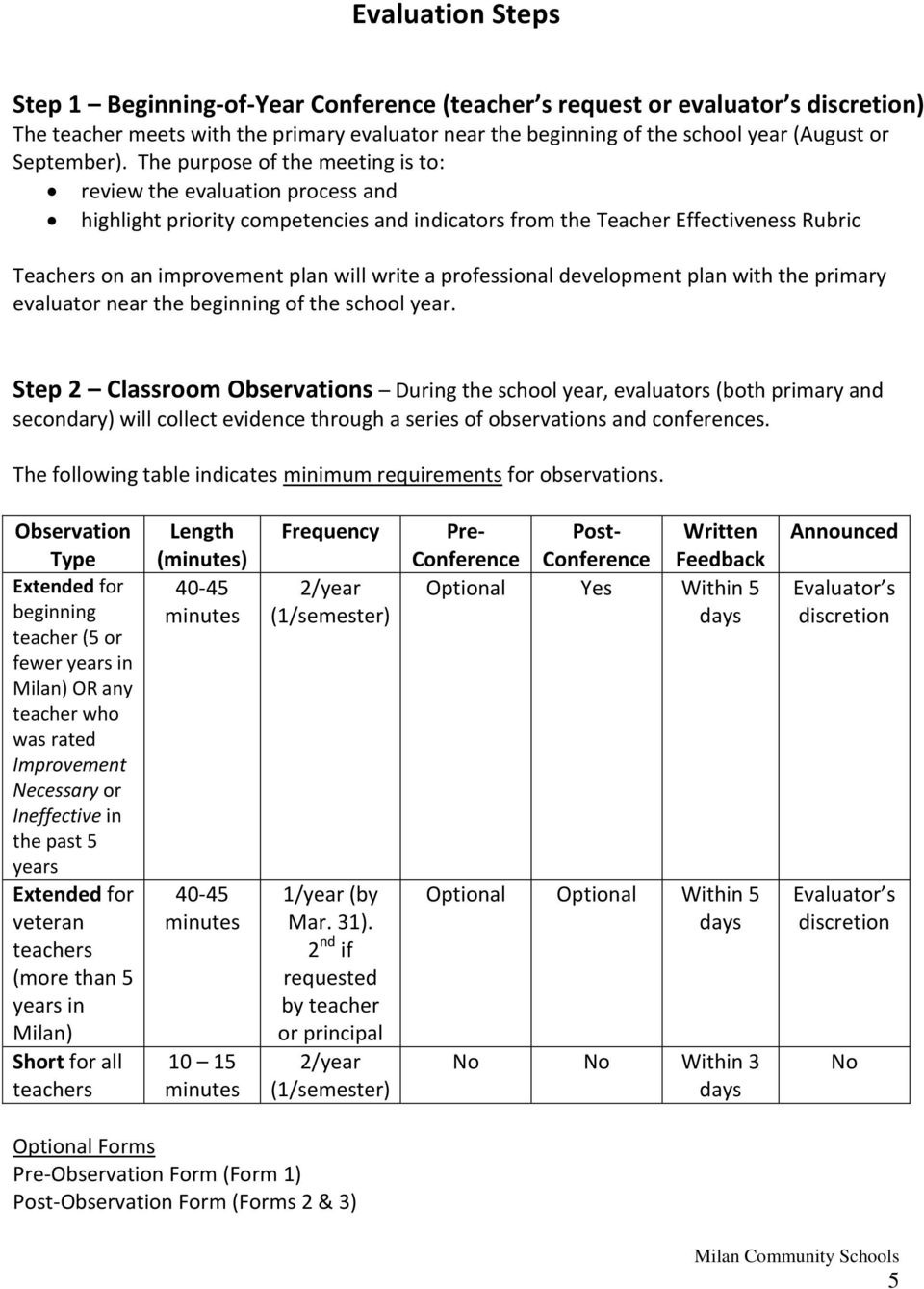 The purpose of the meeting is to: review the evaluation process and highlight priority competencies and indicators from the Teacher Effectiveness Rubric Teachers on an improvement plan will write a