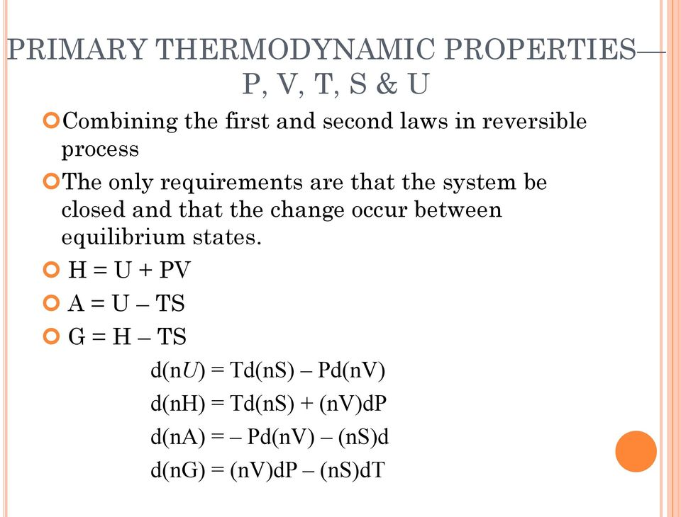 that the change occur between equilibrium states.