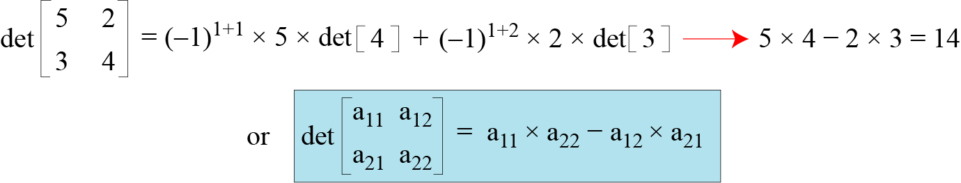 Example Figure below shows how we can calculate the determinant of a 2 2 matrix based