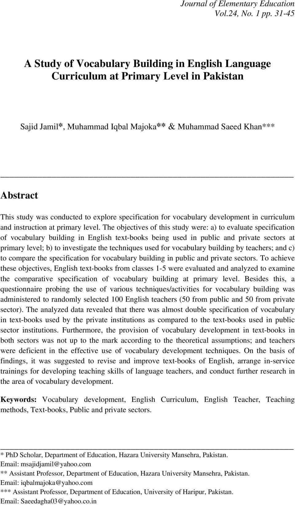 a study of vocabulary building in english language curriculum at primary level in pakistan