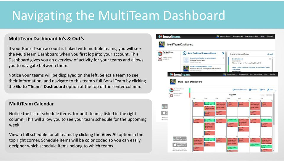 Select a team to see their information, and navigate to this team s full Bonzi Team by clicking the Go to Team Dashboard option at the top of the center column.