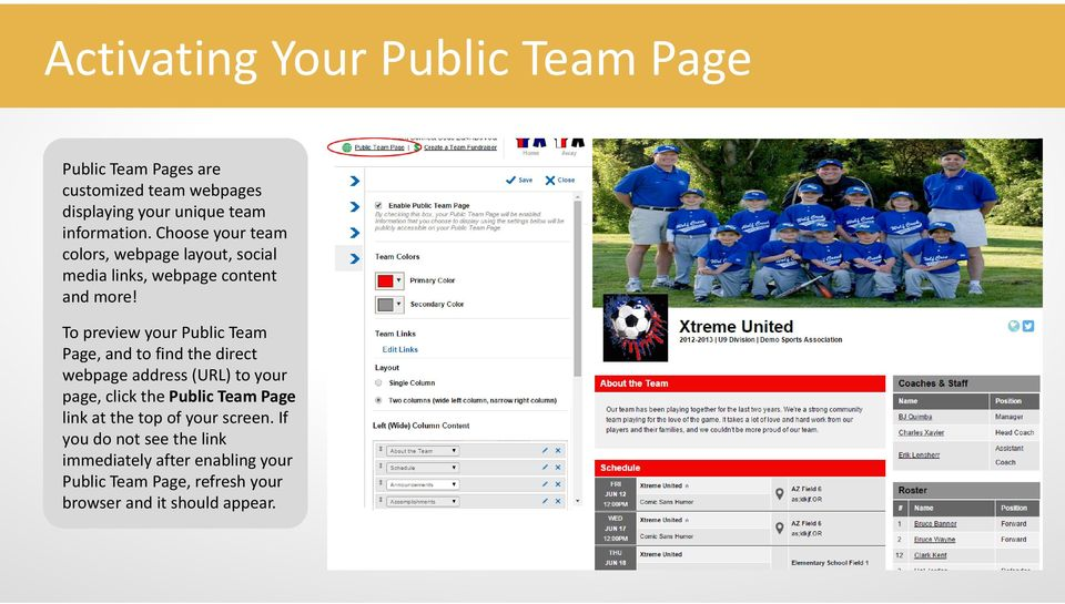 To preview your Public Team Page, and to find the direct webpage address (URL) to your page, click the Public Team Page