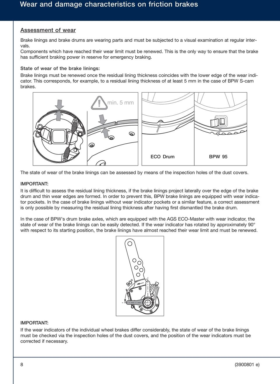 Bpw The Quality Factor Wear And Damage Characteristics On Friction Exploded Diagram Of Drum Brake State Linings Must Be Renewed Once Residual
