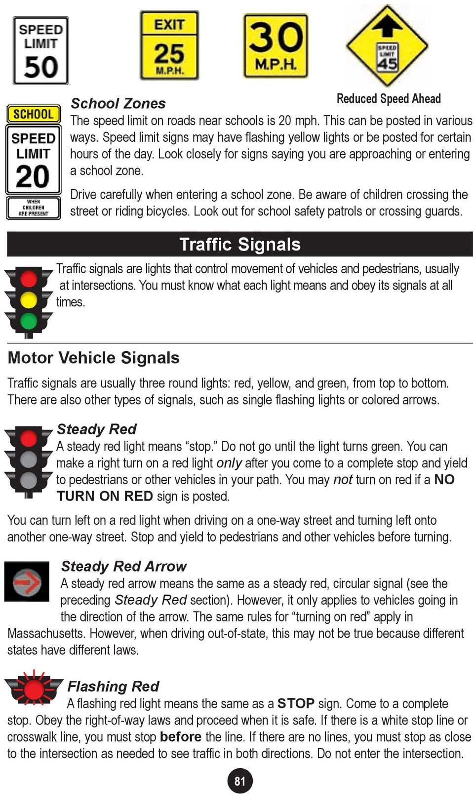 Drive carefully when entering a school zone. Be aware of children crossing the street or riding bicycles. Look out for school safety patrols or crossing guards.