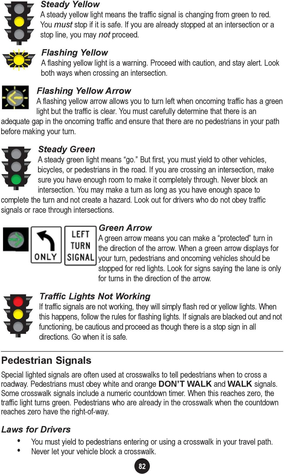 Look both ways when crossing an intersection. Flashing Yellow Arrow A flashing yellow arrow allows you to turn left when oncoming traffic has a green light but the traffic is clear.