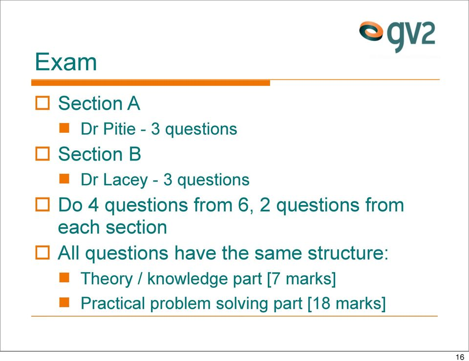 section All questions have the same structure: Theory /