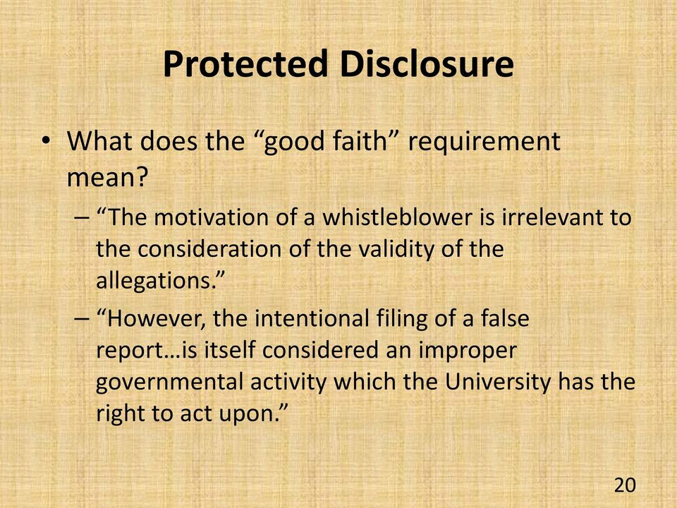 whistleblower protected disclosure This page provides information about 'whistle-blowing' under the protected  we  also have a guide, making a protected disclosure - 'blowing the whistle', which.