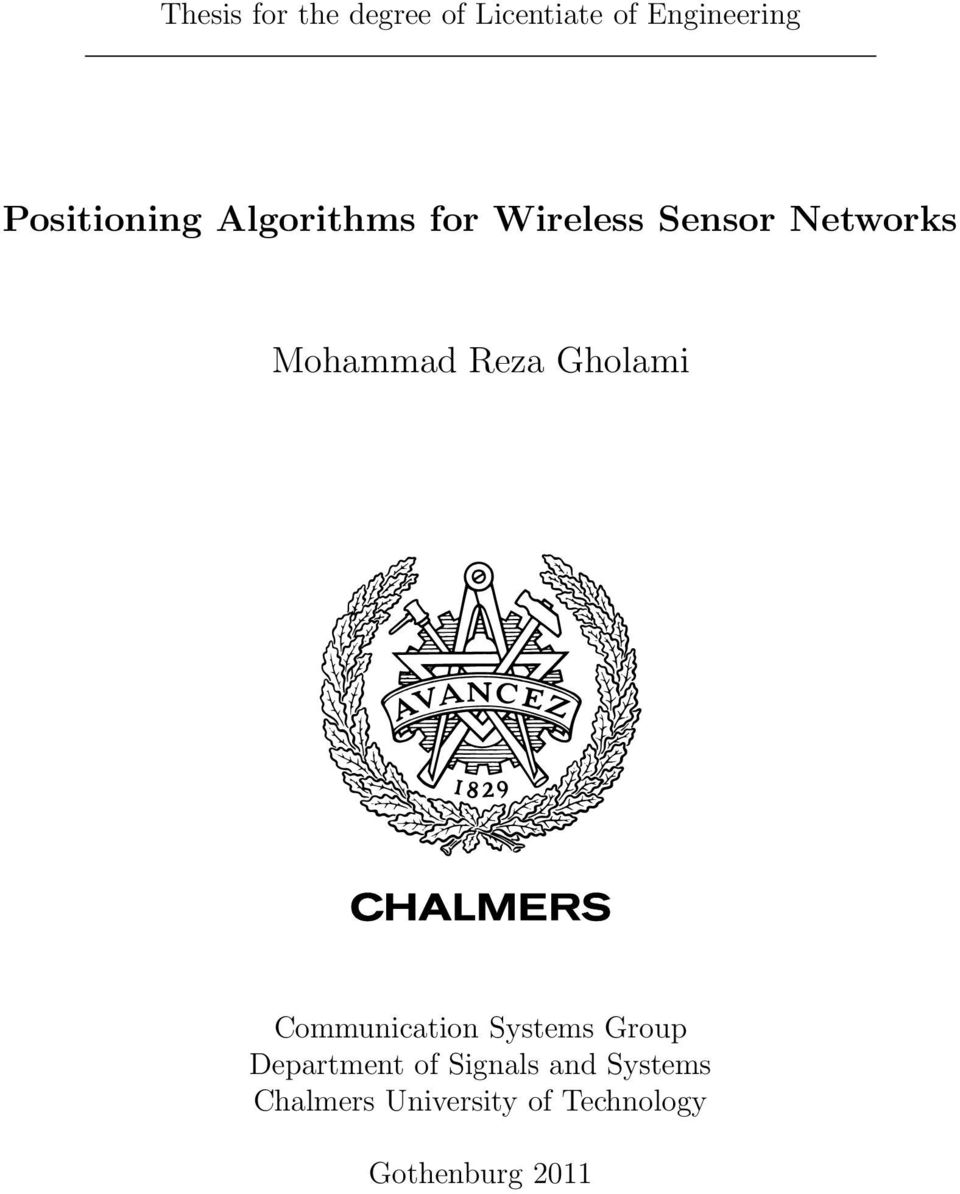 chalmers signals and systems master thesis This report describes a thesis project for the international master program of  department of signals and systems, chalmers university of technology  open.