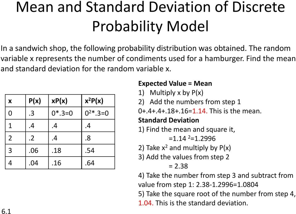 16 x 2 P(x) 0 2 *.3=0.4.8.54.64 Expected Value = Mean 1) Multiply x by P(x) 2) Add the numbers from step 1 0+.4+.4+.18+.16=1.14. This is the mean.