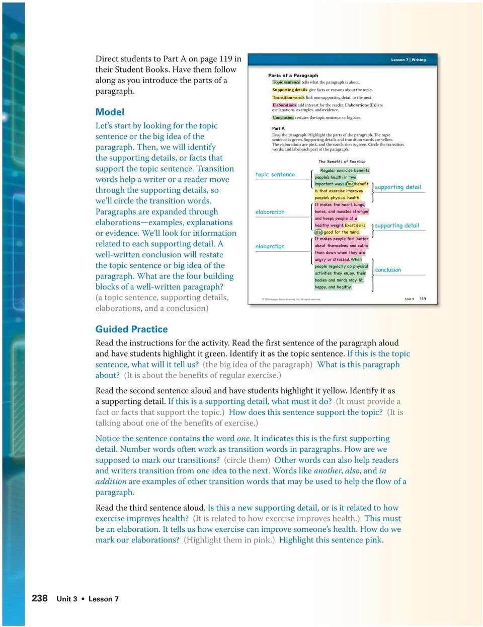 direct students to page 100 in their student books use the pdf transition words help a writer or a reader move through the supporting details so we