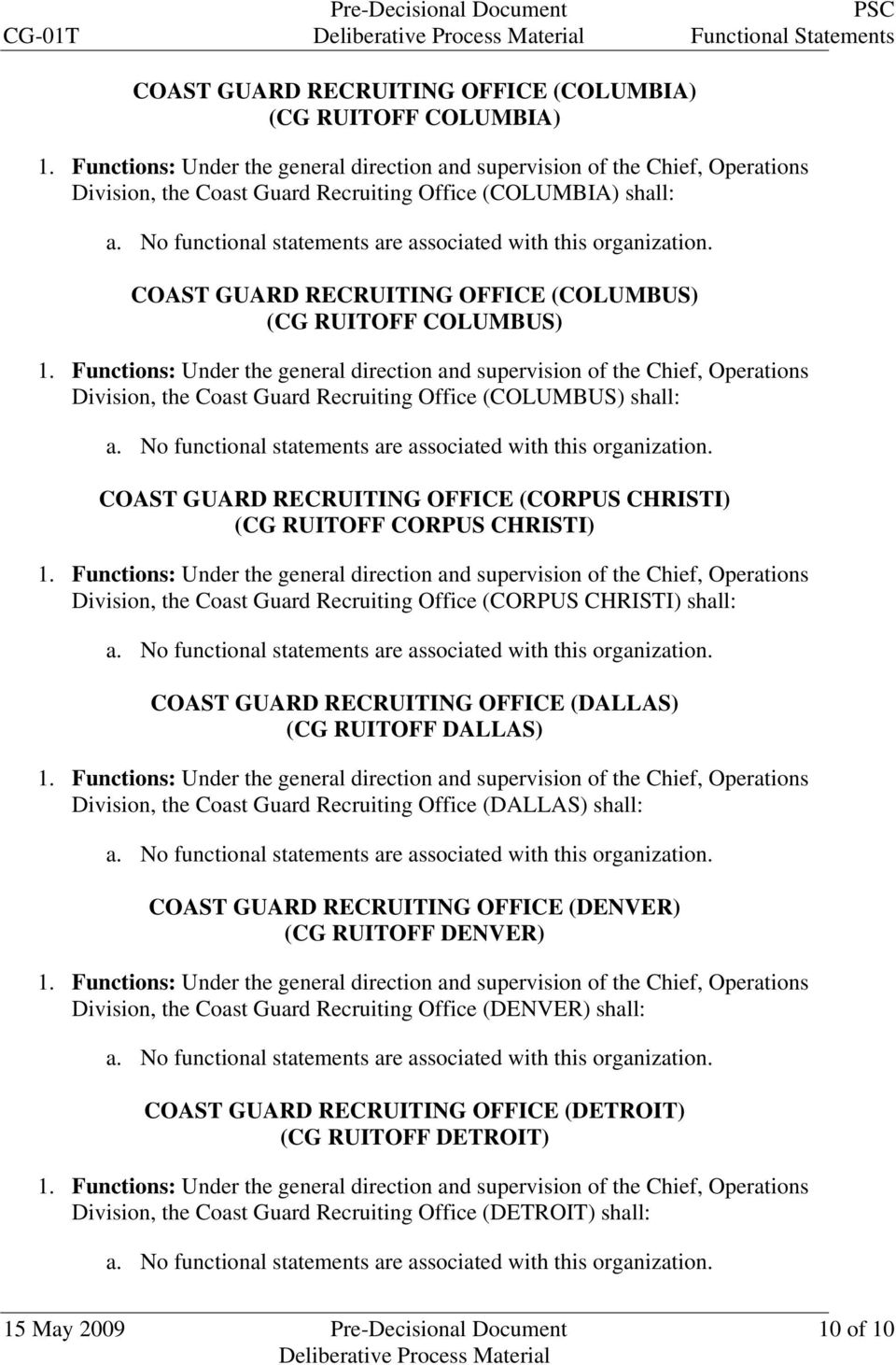 (CORPUS CHRISTI) shall: COAST GUARD RECRUITING OFFICE (DALLAS) (CG RUITOFF DALLAS) Division, the Coast Guard Recruiting Office (DALLAS) shall: COAST GUARD RECRUITING OFFICE (DENVER) (CG RUITOFF