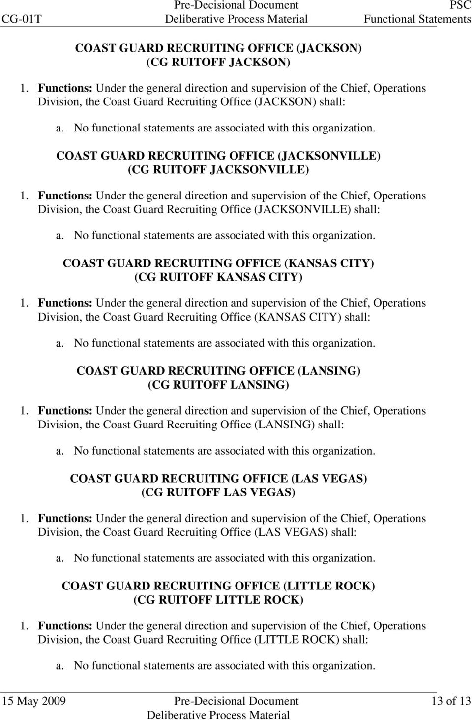 Office (KANSAS CITY) shall: COAST GUARD RECRUITING OFFICE (LANSING) (CG RUITOFF LANSING) Division, the Coast Guard Recruiting Office (LANSING) shall: COAST GUARD RECRUITING OFFICE (LAS VEGAS) (CG