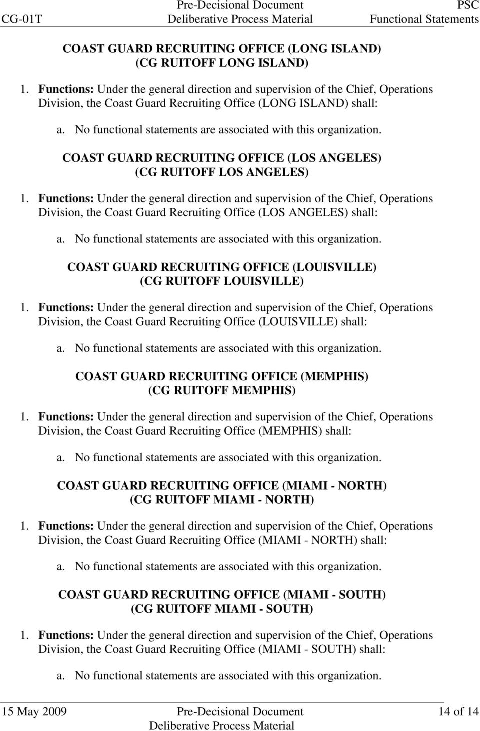 Recruiting Office (LOUISVILLE) shall: COAST GUARD RECRUITING OFFICE (MEMPHIS) (CG RUITOFF MEMPHIS) Division, the Coast Guard Recruiting Office (MEMPHIS) shall: COAST GUARD RECRUITING OFFICE (MIAMI -
