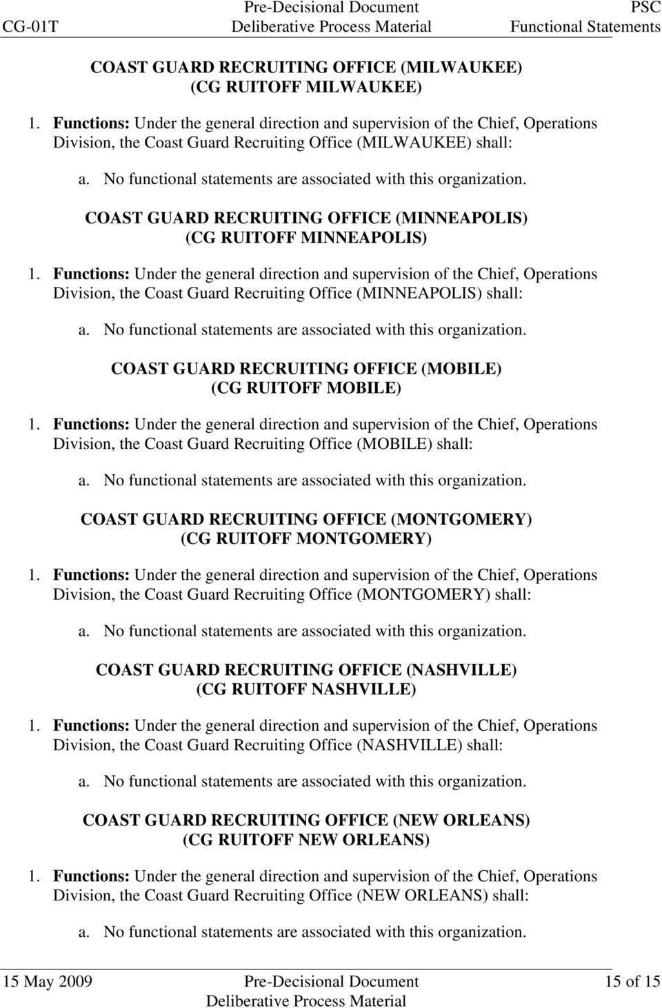 Office (MOBILE) shall: COAST GUARD RECRUITING OFFICE (MONTGOMERY) (CG RUITOFF MONTGOMERY) Division, the Coast Guard Recruiting Office (MONTGOMERY) shall: COAST GUARD RECRUITING OFFICE (NASHVILLE) (CG
