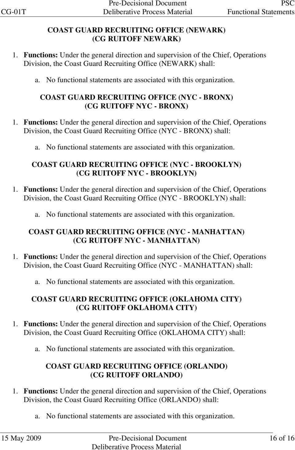Office (NYC - BROOKLYN) shall: COAST GUARD RECRUITING OFFICE (NYC - MANHATTAN) (CG RUITOFF NYC - MANHATTAN) Division, the Coast Guard Recruiting Office (NYC - MANHATTAN) shall: COAST GUARD RECRUITING