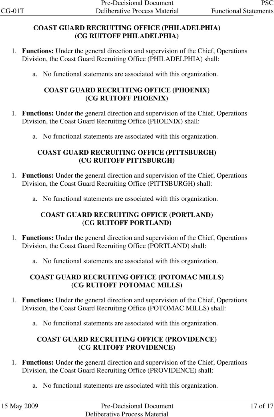 Office (PITTSBURGH) shall: COAST GUARD RECRUITING OFFICE (PORTLAND) (CG RUITOFF PORTLAND) Division, the Coast Guard Recruiting Office (PORTLAND) shall: COAST GUARD RECRUITING OFFICE (POTOMAC MILLS)