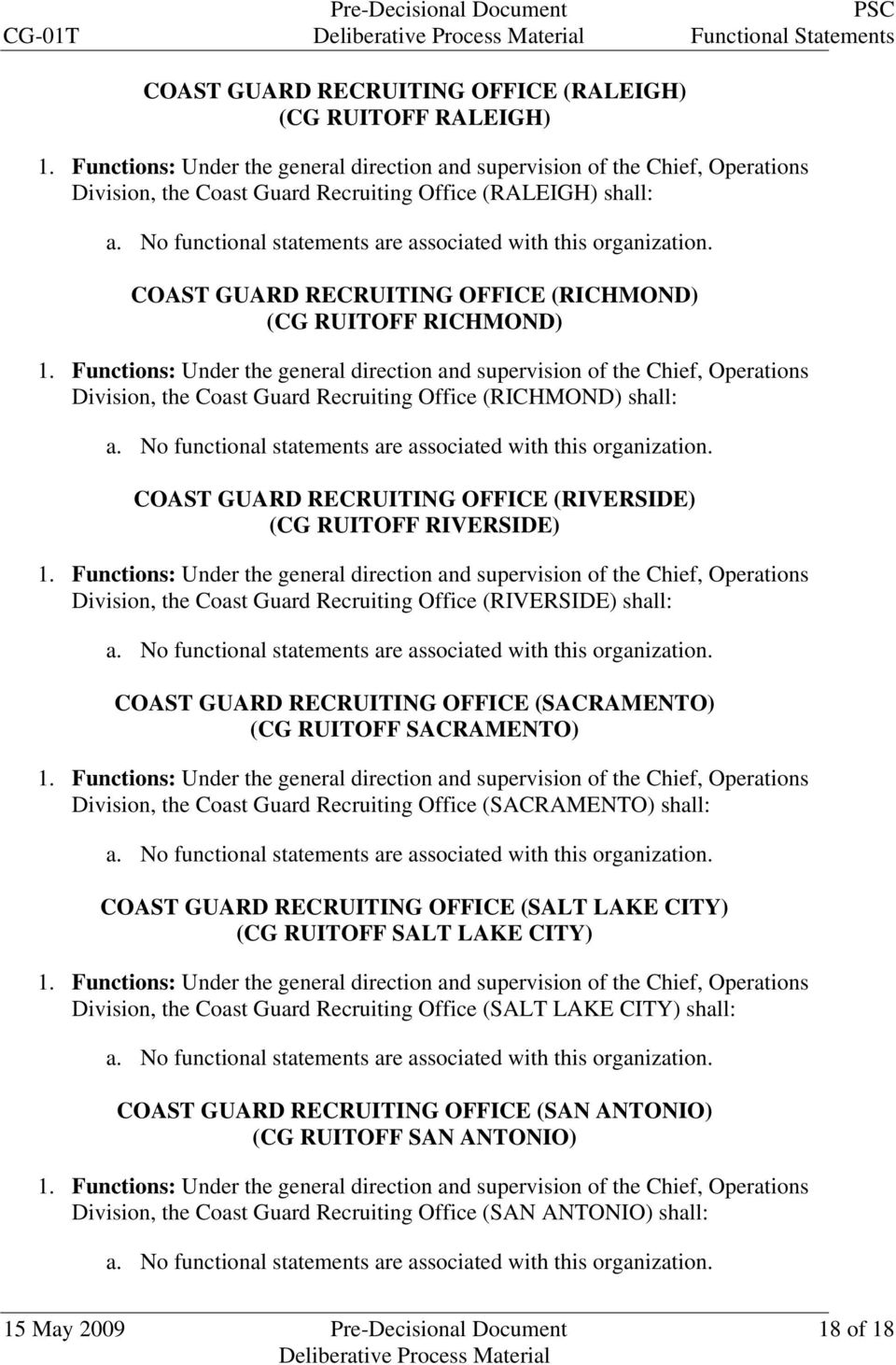 (RIVERSIDE) shall: COAST GUARD RECRUITING OFFICE (SACRAMENTO) (CG RUITOFF SACRAMENTO) Division, the Coast Guard Recruiting Office (SACRAMENTO) shall: COAST GUARD RECRUITING OFFICE (SALT LAKE CITY)