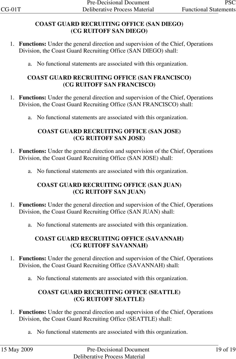 Recruiting Office (SAN JOSE) shall: COAST GUARD RECRUITING OFFICE (SAN JUAN) (CG RUITOFF SAN JUAN) Division, the Coast Guard Recruiting Office (SAN JUAN) shall: COAST GUARD RECRUITING OFFICE
