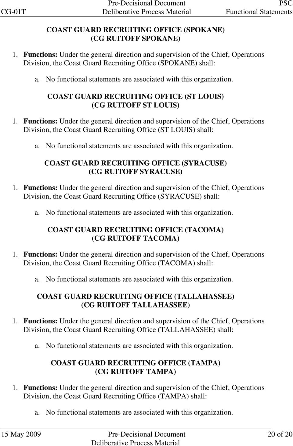shall: COAST GUARD RECRUITING OFFICE (TACOMA) (CG RUITOFF TACOMA) Division, the Coast Guard Recruiting Office (TACOMA) shall: COAST GUARD RECRUITING OFFICE (TALLAHASSEE) (CG RUITOFF TALLAHASSEE)
