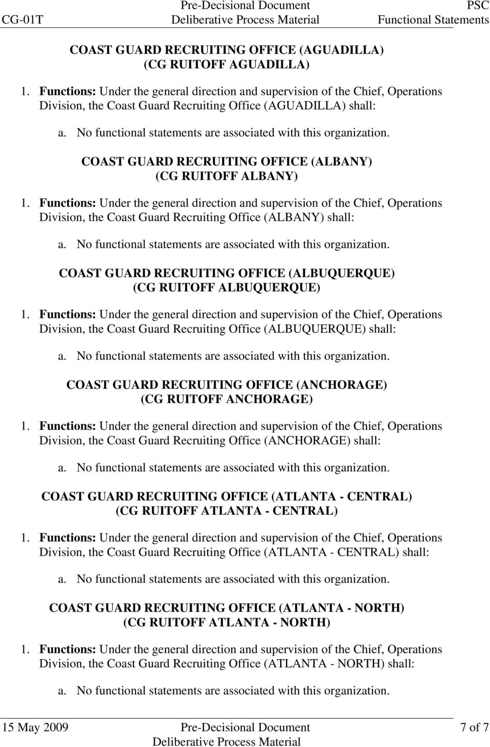 (ALBUQUERQUE) shall: COAST GUARD RECRUITING OFFICE (ANCHORAGE) (CG RUITOFF ANCHORAGE) Division, the Coast Guard Recruiting Office (ANCHORAGE) shall: COAST GUARD RECRUITING OFFICE (ATLANTA - CENTRAL)