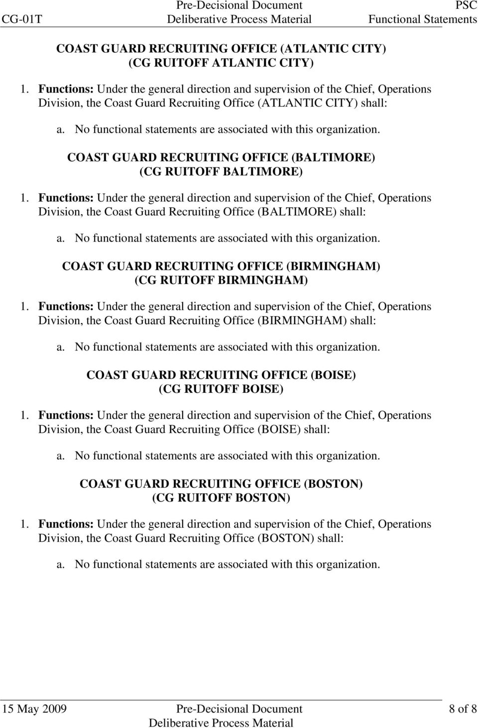 BIRMINGHAM) Division, the Coast Guard Recruiting Office (BIRMINGHAM) shall: COAST GUARD RECRUITING OFFICE (BOISE) (CG RUITOFF BOISE) Division, the Coast Guard Recruiting Office