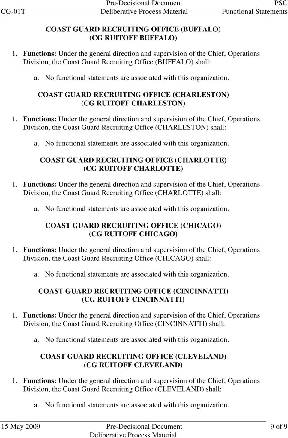 (CHARLOTTE) shall: COAST GUARD RECRUITING OFFICE (CHICAGO) (CG RUITOFF CHICAGO) Division, the Coast Guard Recruiting Office (CHICAGO) shall: COAST GUARD RECRUITING OFFICE (CINCINNATTI) (CG RUITOFF