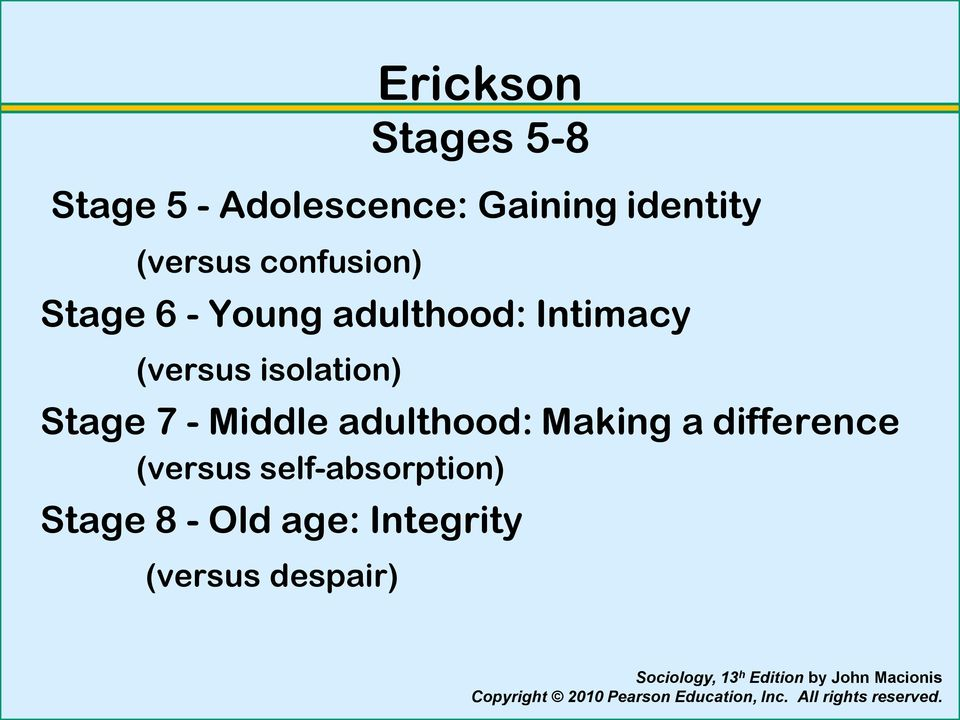 isolation) Stage 7 - Middle adulthood: Making a difference